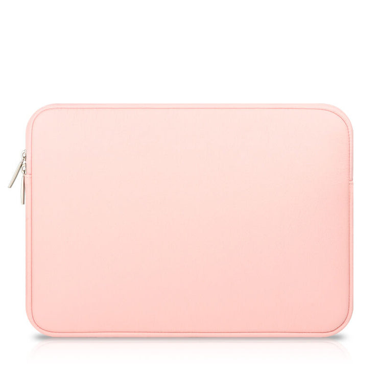 Laptop Sleeve - Pink Soft Leather Waterproof Zipper Bag