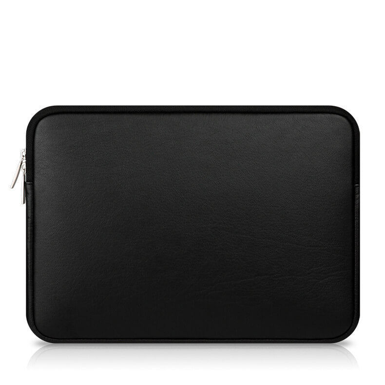 Laptop Sleeve - Black Soft Leather Waterproof Zipper Bag