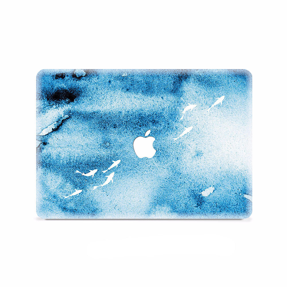 Macbook Decal - Blue Shoal of Fish - colourbanana