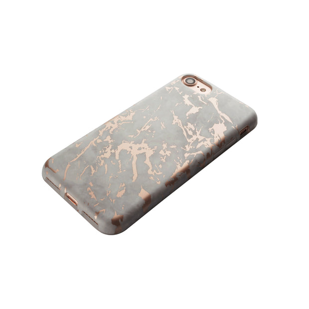 iPhone Case - White & Rose Metallic Brushed Marble