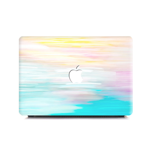 Macbook Case - Flower Cyan Sky Fuzzy - colourbanana