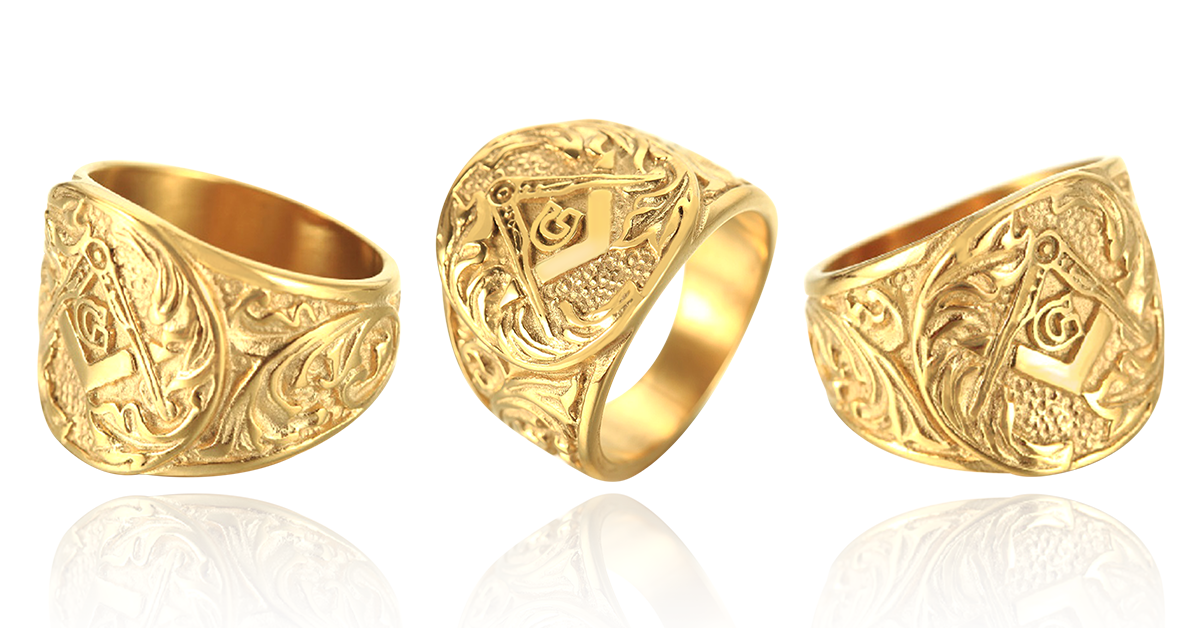 Gold Embossed Freemason Masonic Ring (ELG0000/ELS0000)