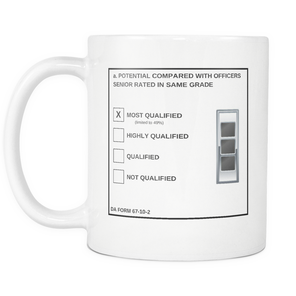 "CW3 ""Top Block"" 11oz All White Mug (DA 67-10-2)"