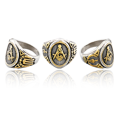 18K Gold Masonic Signet Ring (RX90000)
