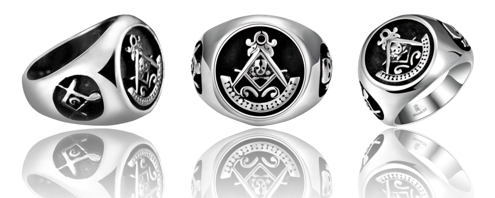 Fashion Stainless Steel Masonic Skull Rings (UXY0000)