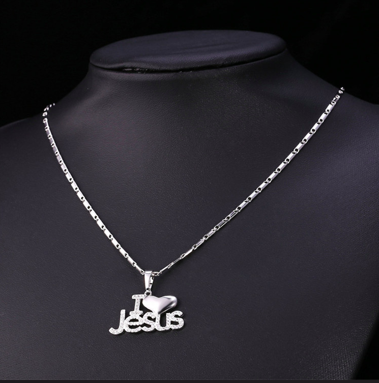 Jesus Heart Necklace Silver or Gold