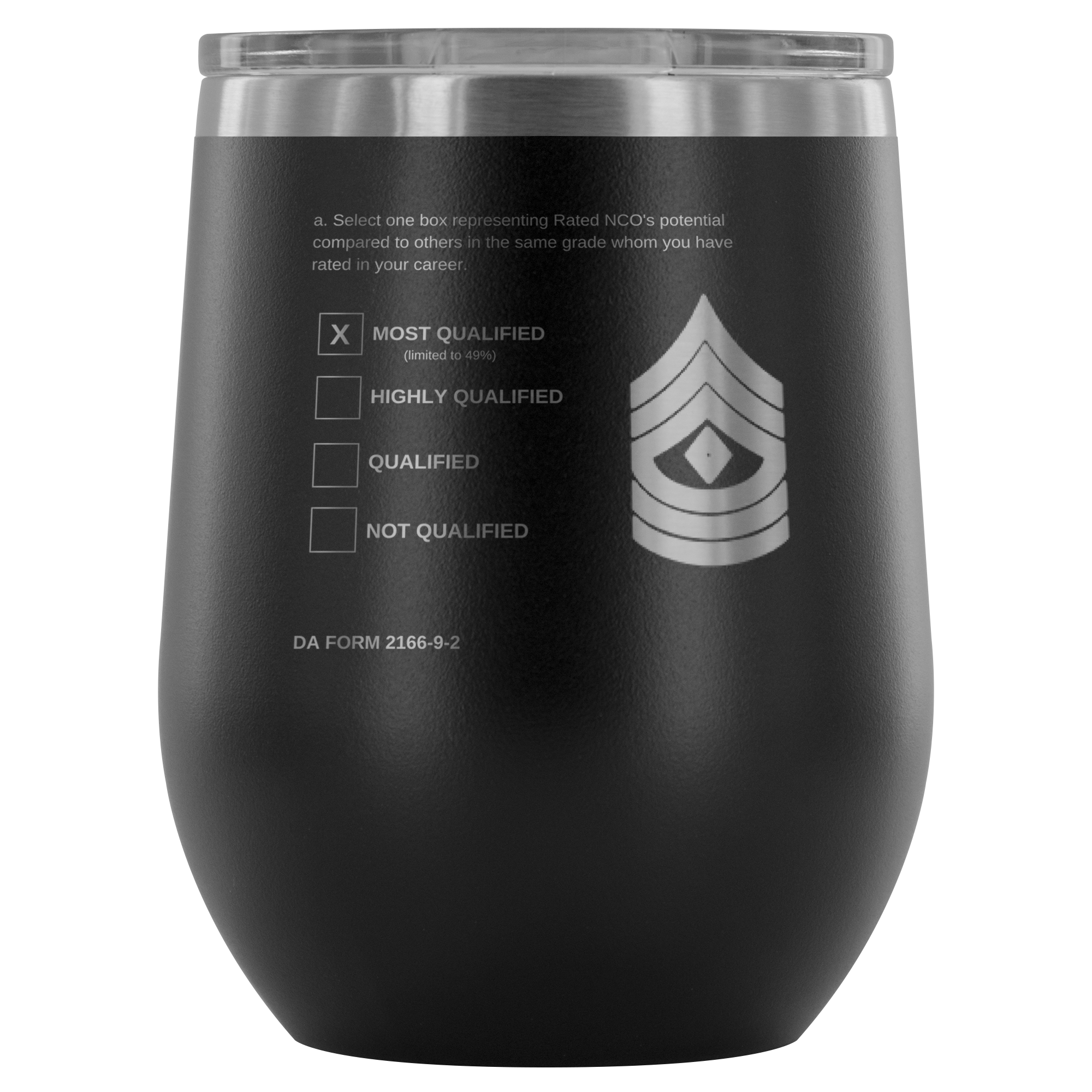 "1SG ""Top Block"" 12oz Stemless Wine Tumbler (DA 2166-9-2)"