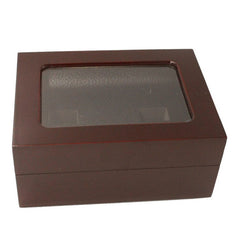 Solid Hollow Wooden Box - 4 Hole Position Championship Ring With Transparent Lid
