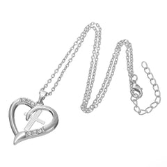 I Love Jesus - Silver Plated Cross Heart Pendant