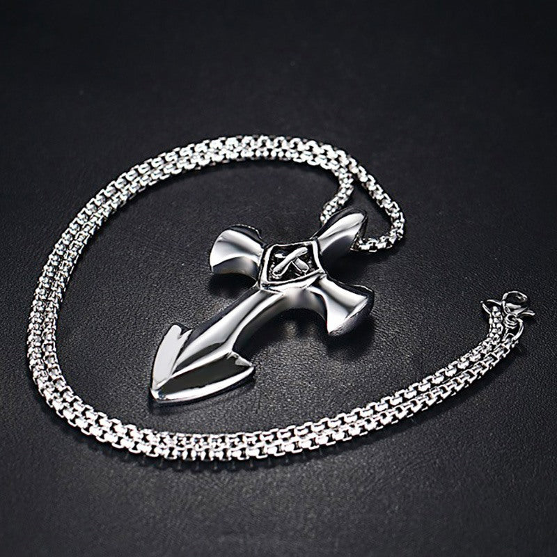 Vintage Men's Anchor Necklace Pendant - Stainless Steel Cross With Long Chain
