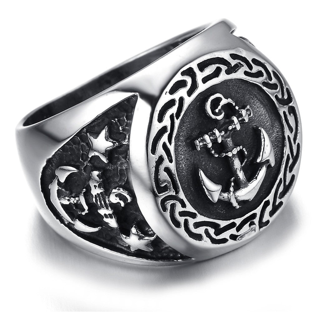 Men's Navy Anchor Nautical Sailor Black Silver 316L Stainless Steel Biker Ring
