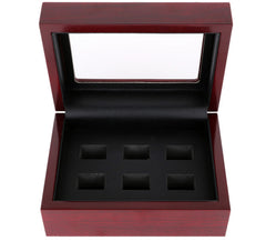 Solid Hollow Wooden Box - 6 Hole Position Championship Ring With Transparent Lid