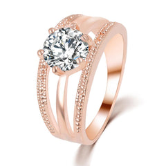 Austrian Crystal Ring - Rose Gold Flower Ring