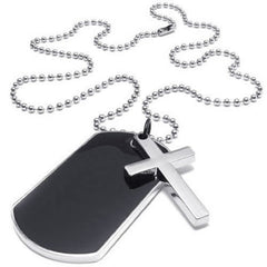 Army Style Dog Tag Cross Pendant Necklace - Black & Silver, 27 inch Chain