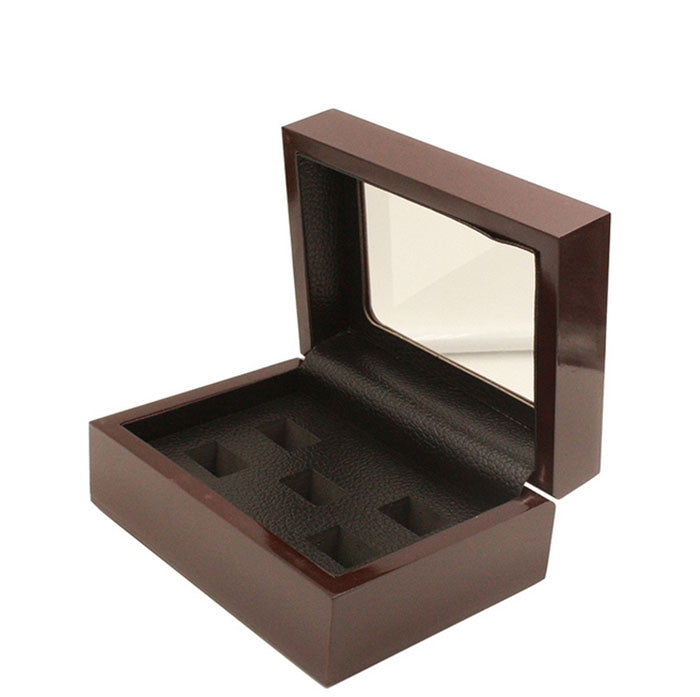 Solid Hollow Wooden Box - 5 Hole Position Championship Ring With Transparent Lid