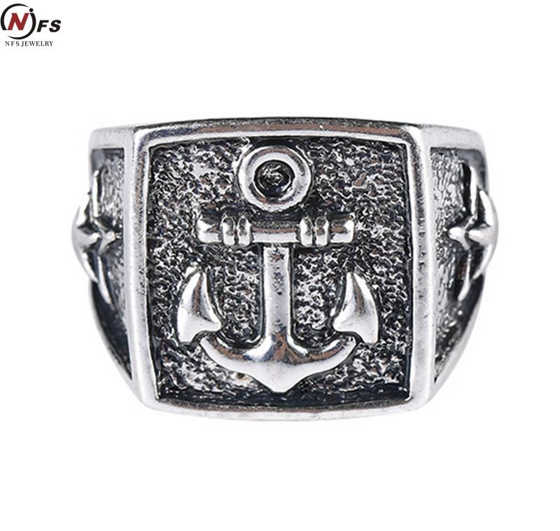 Silver & Black Top Quality Class Vintage Anchor Ring
