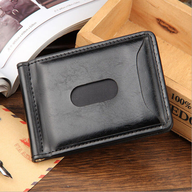 Men's Leather Wallet  With Mini Money Clip