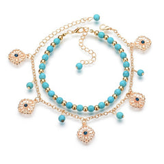 Fatima Hamsa Hand - Blue Flowers Double Beads Turkish Ankle Bracelet