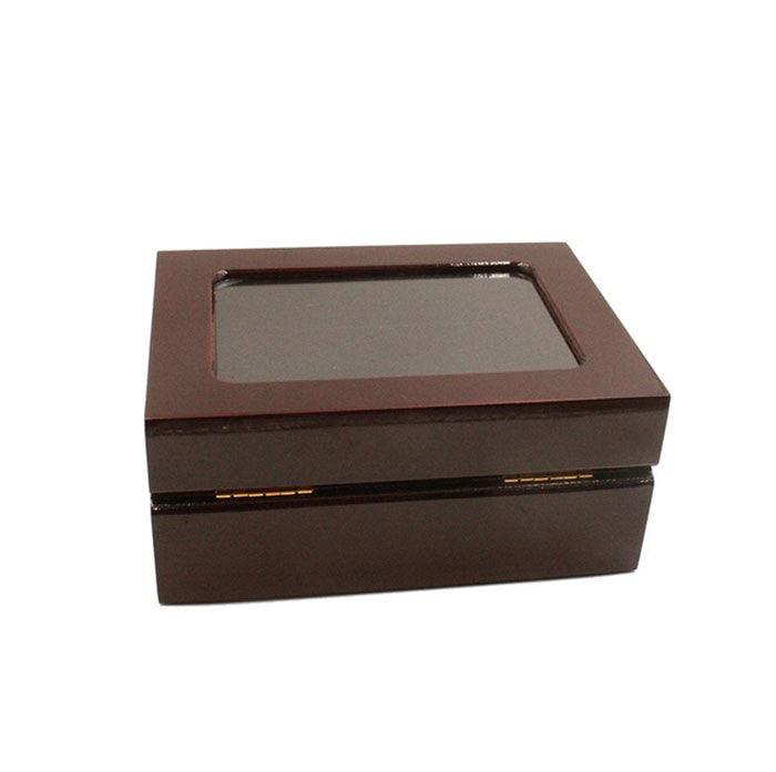 Solid Hollow Wooden Box - 2 Hole Position Championship Ring With Transparent Lid