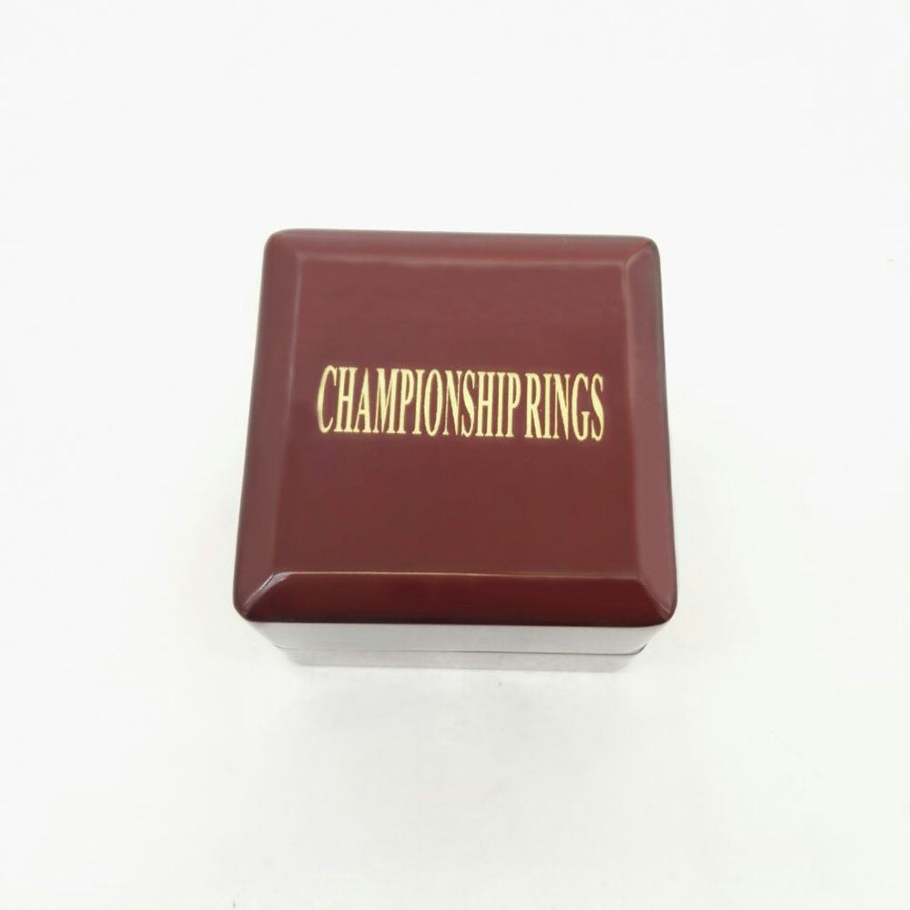 Solid Hollow Wooden Box - 1 Hole Position Championship Ring With Transparent Lid