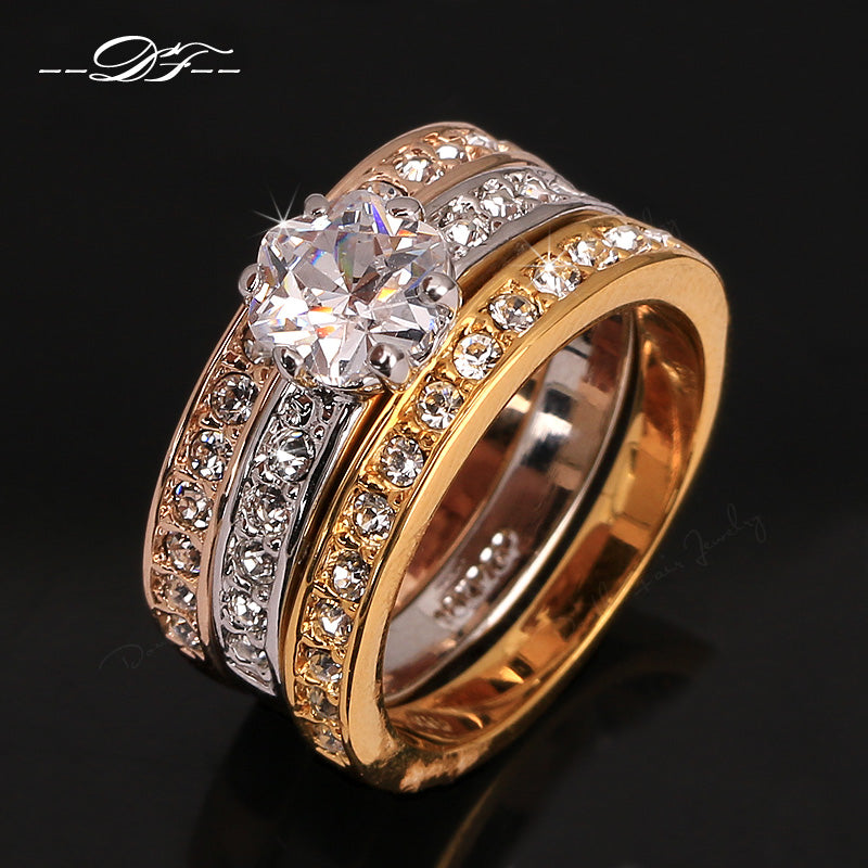 Anti Allergy Zircon Paved Engagement Ring Set - Rose Gold Crystal Wedding Jewelry For Women