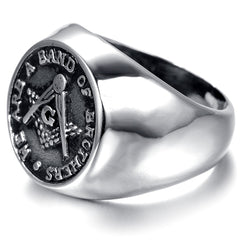 316L Stainless Steel Masonic Signet Ring (UEY0000)