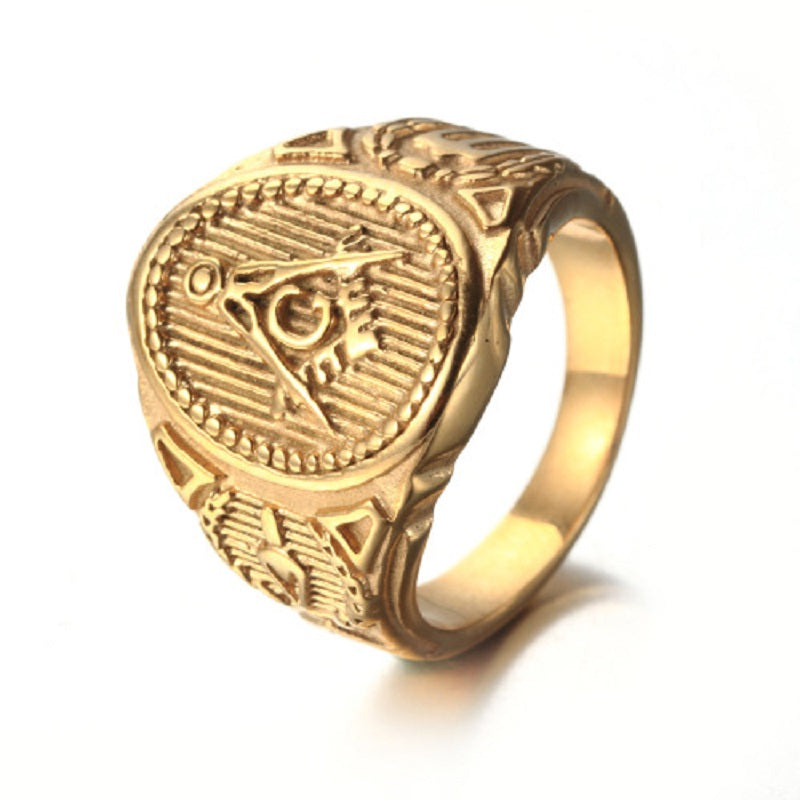 Gold Titanium Steel Ring - G Masonic Ring Restoring Ancient Ways (TJR0000)