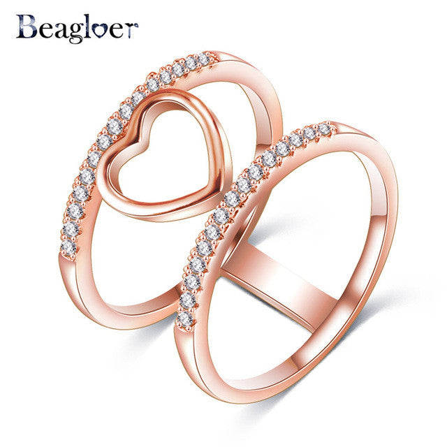 Two-Tone Connected Rose Gold & Silver Love Heart