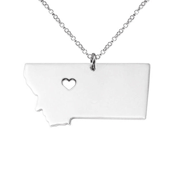 Montana State Charm - Map Neclace