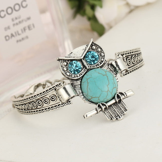 Cyan Stone Bracelet Bangle With Fatima Hamsa Hand