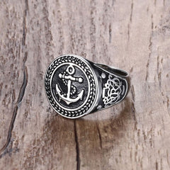 Anchor Ring Mens - Black Stainless Steel Vintage Jewelry