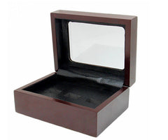 Solid Hollow Wooden Box - 3 Hole Position Championship Ring With Transparent Lid