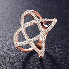 Fashion Rings for Women - Double Letter X Shape Ring Micro Paved