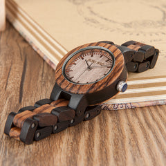 Zebra Ebony His & Hers Wooden Watches for Men  and Women
