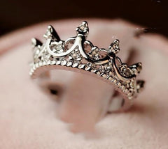 Free Wings Queen's Silver Crown Ring For Women