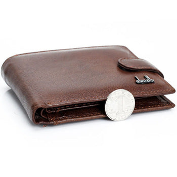 Men Leather Wallet With Strap & Zipper - Casual Style Long Money