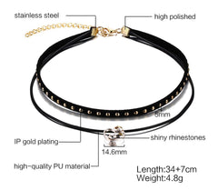 Leather Choker Necklace for Elegant Women
