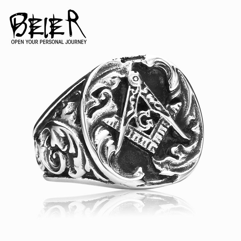 New Design Masonic Ring For Men! Stainless Steel Master Masonic Signet Rings Gothic Vintage!