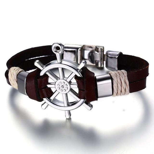 Men Bracelet & Bangle Double Layer Leather - Classic Vintage Daily Sport Sailing Jewelry