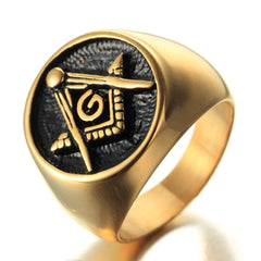 Freemason Men's  Gold Ring - 316L Stainless Steel Masonic Ring (QDV0000)