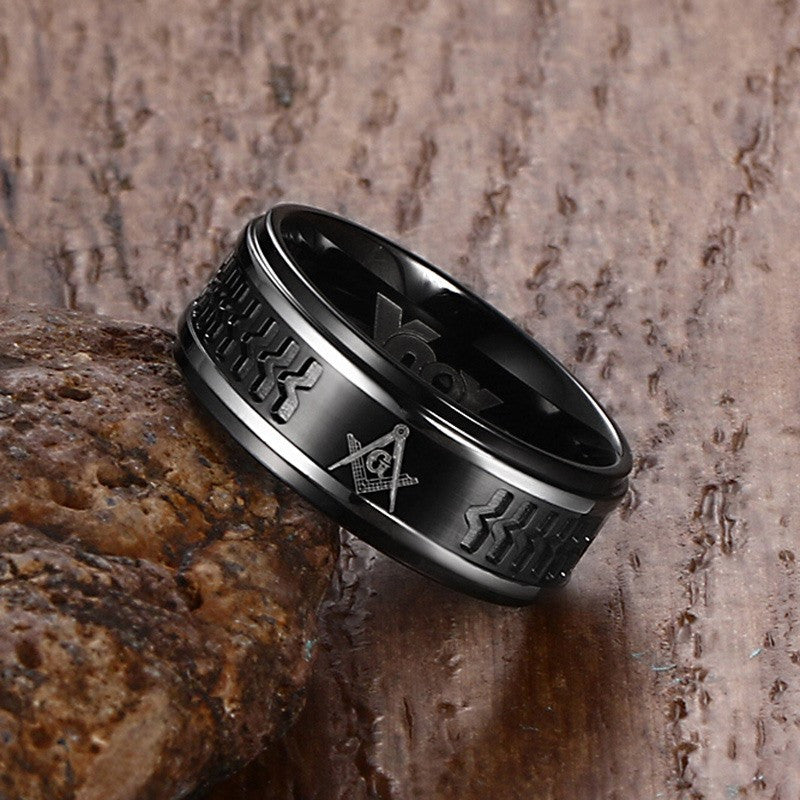 Masonic Ring Surgical Steel - Midnight (JCP0000)
