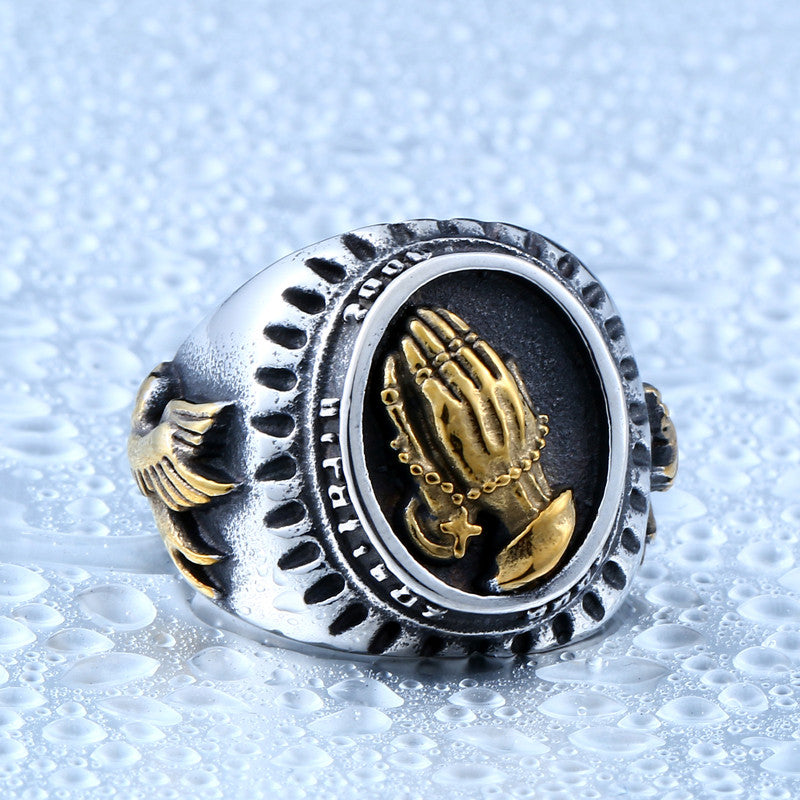 316L Stainless Titanium Steel - Hand Of God Ring / Bird of Peace