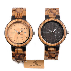 Newest Wood Watch for Men with Week Display Date Quartz Watches - Two-tone Wooden Drop Shipping