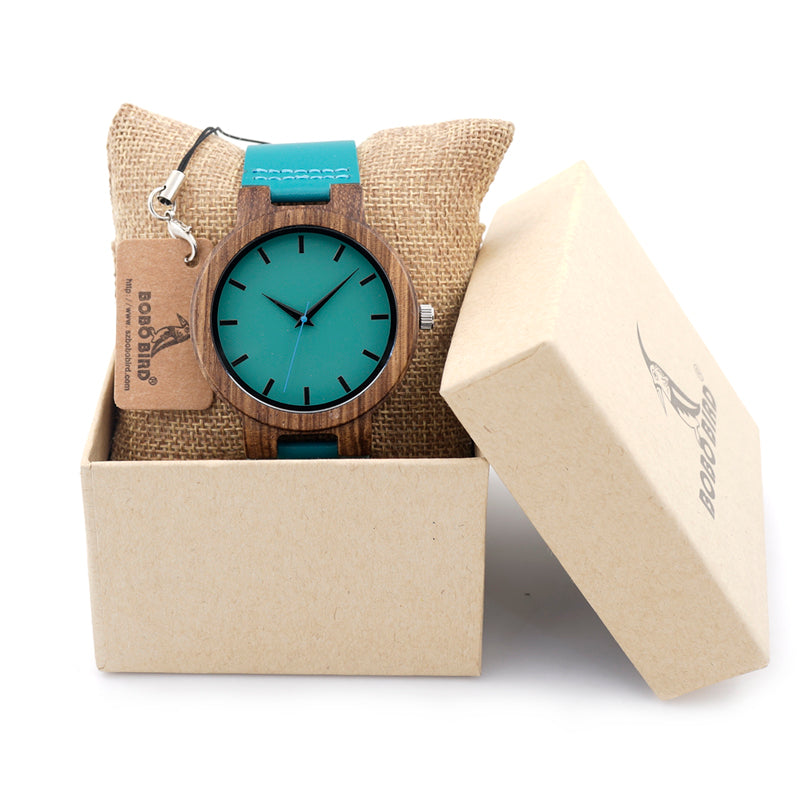Bamboo Wooden Watch - Blue Leather Band With Analog Display