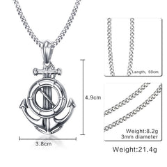 "Vintage Anchor Pendant - Mens Necklace Silver With Free 24"" Chain"
