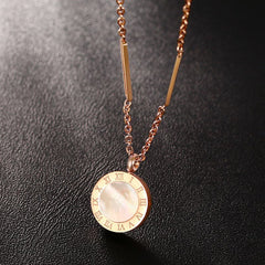 Double-sided Necklaces - Rose Gold Roman Numeral Shell