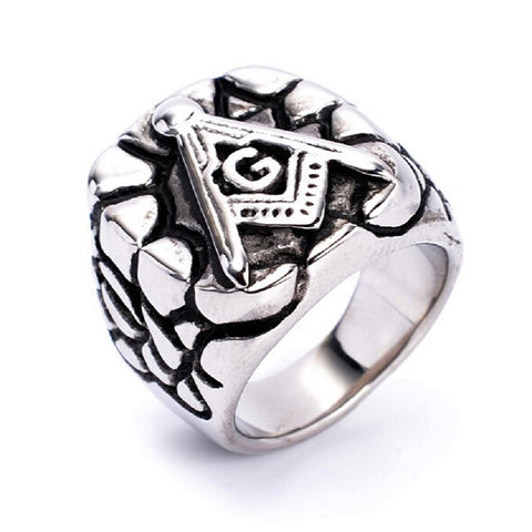 Historic Silver Stainless Steel Masonic Signet Ring (WFS0000)