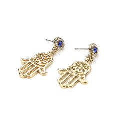 Gold Color Alloy Metal Earrings - Hamsa Fatima Crystal