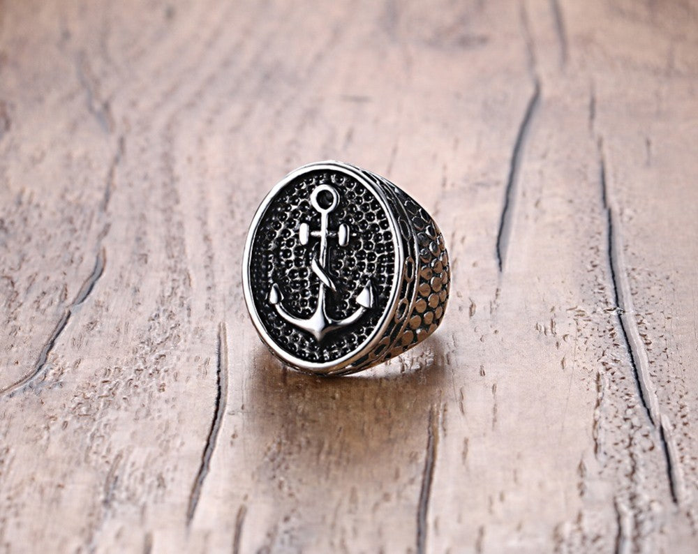 Vintage Anchor Ring 316L Stainless Steel - Gothic Biker Retro Style