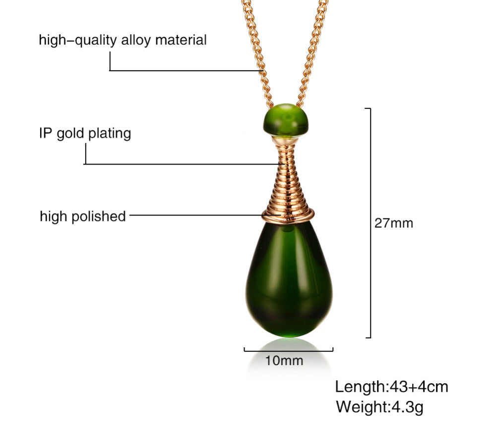 Stylish Perfume Bottle Necklace - Water Drop Pendant Crystal Jewelry Accessories